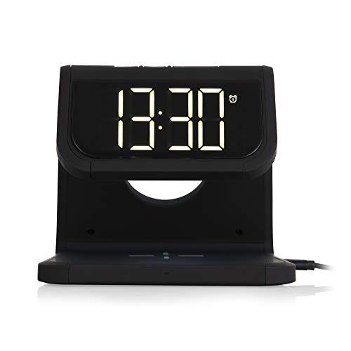 Akai Core A58125 Wecker mit kabellosem Laden und Nachtlicht, 10 W, Schwarz