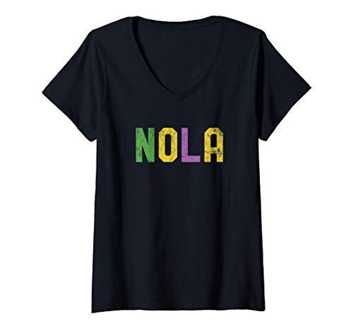 Damen Mardi Gras Nola New Orleans Retro Party Geschenk T-Shirt mit V-Ausschnitt