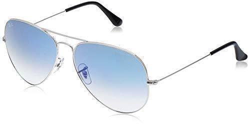 Ray-Ban RB3025 Aviator Sonnenbrille 62mm, Blau (Gestell: Silber, Gläser: Kristall hellblau Verlauf, 62 mm