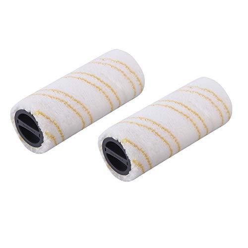 DEYF Ersatz 2-teiliges Microfaser Walzenbürste Set Für Karcher FC3 FC5 Gelb und Weiß