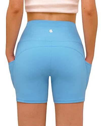 FAFAIR Sport Shorts mit Taschen Damen High Waist Blickdicht Fitness Kurze Leggings Tights Sportshort Strecken Sky Blue XL