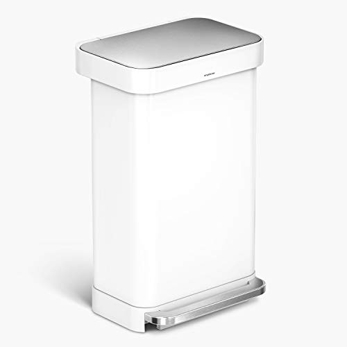 simplehuman 45 Liter Rectangular Hands-Free Kitchen Step Trash Can with Soft-Close Lid, White Steel