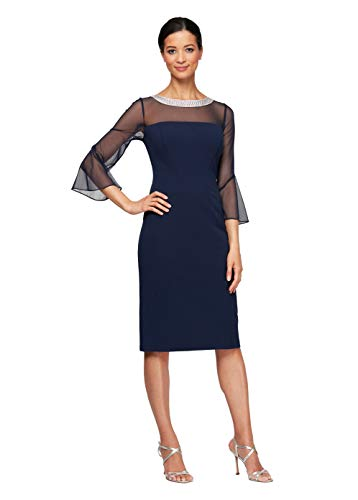 Alex Evenings Women's Short Shift Dress with Embellished Illusion Detail, Navy, 4
