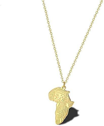 Liuqingzhou Co.,ltd Ojo de Egipto Collar de Mapa de África Encanto de país Africano Colgante de Ojo de Horus de Egipto joyería egipcia Antigua