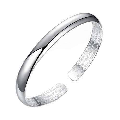Plata esterlina Retro Heart Sutra brazaletes de plata pulsera de mujer moda brillante joyería de lujo simple