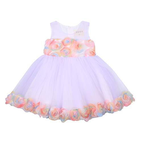 Carolilly Vestido de princesa para verano sin mangas, cuello redondo, corte de malla, para bodas, fiestas, bebés, cumpleaños, etc. morado 18-24 Meses