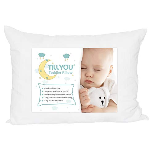 TILLYOU Ergonomic Toddler Pillow with Pillowcase for Crib, Bed,...