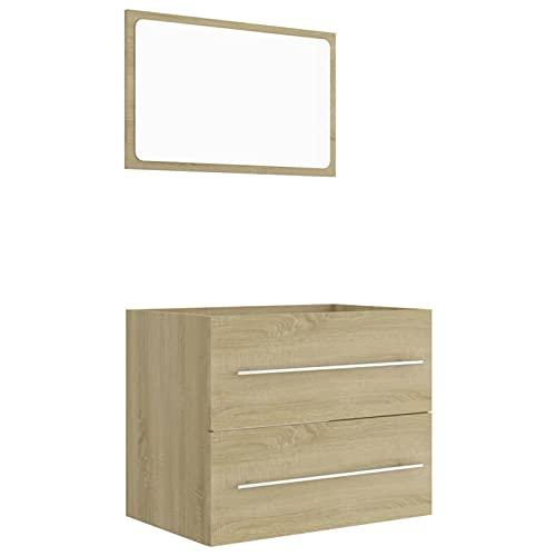 Tidyard Conjunto de Muebles de baño Muebles Baño Armario de baño de Puerta con Espejo 3# 2 Piezas aglomerado Roble Sonoma