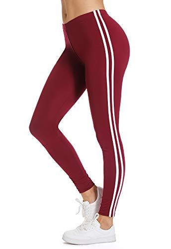 FITTOO Leggings Mallas Mujer Pantalones Deportivos Yoga Alta Cintura Elásticos y Transpirables 1380#2 Rojo Chica
