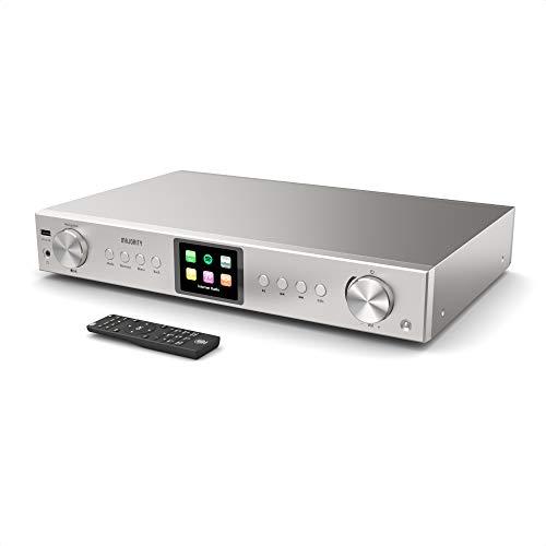 Sintonizzatore Majority Hi-Fi Fitzwilliam 2 - Radio digitale DAB DAB+ FM e Internet - Spotify Connect - Bluetooth - USB e AUX - Ottico, coassiale e line out - Display a colori (Argento)
