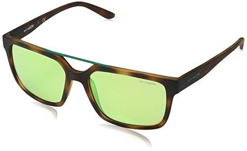 Arnette Petrolhead Gafas de sol, Rectangulares, 57, Havana Rubber, Verde