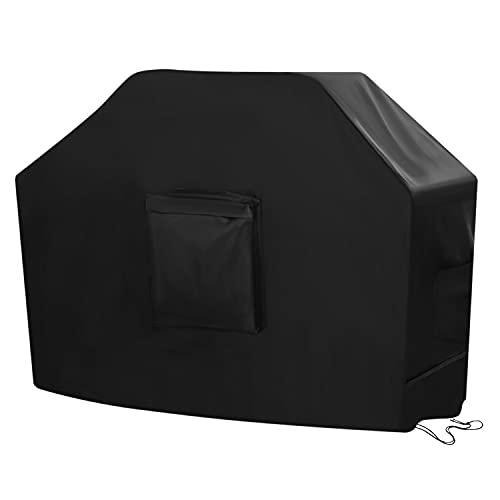 SIRUITON Funda para Barbacoa Impermeable 420D Oxford Tela Adecuado para Muchos Tipos de Parrillas Revestimiento de PU Anti-UV a Prueba de Viento Lluvia y Nieve Negro 147×61×117cm