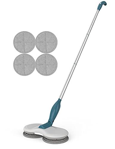GOBOT Bodenwischer elektrisch, Kabelloser Elektrischer wischmopp,Fliesenstaub-Bodenreiniger, Fensterreiniger elektrisch, Mit LED-Scheinwerfer Und 4 waschbare Mikrofaser-Pads