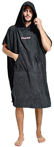 Cressi Poncho Robe Albornoz/Toalla, Hombres, Negro, S/M 67/105 cm
