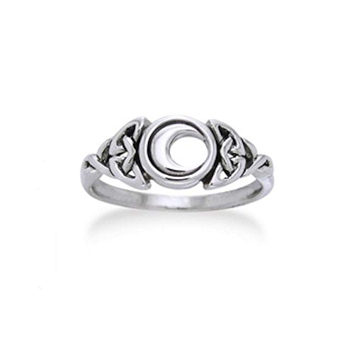 Sterling Silver Celtic Trinity Knot and Crescent Moon Ring Size 9(Sizes 3,4,5,6,7,8,9,10,11,12,13,14,15)