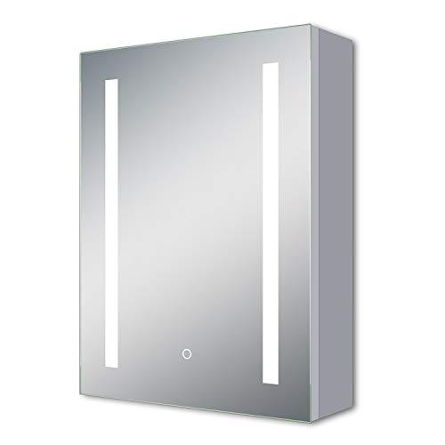 AicaSanitär LED Spiegelschrank mit Rasierersteckdose 50×70 cm Touch,Beschlagfrei, Kaltweiß, Softclose, DREI Stauräume, Aluminum