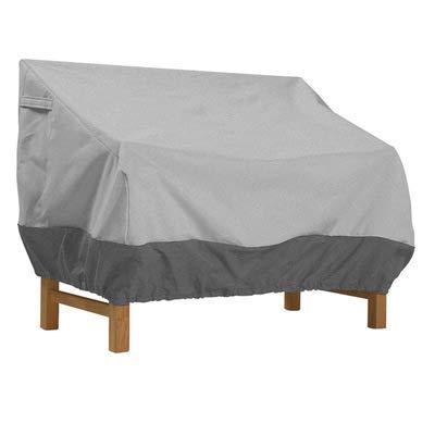 OOFIT Gartenbank Abdeckung für gartenmöbel 3 sitzer mit Belüftungsöffnungen Schutzhülle Bank Wasserdicht, Winddicht, UV-Beständiges, Grau, 193 * 83 * 84cm