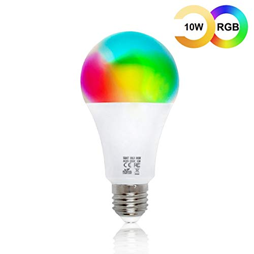 Lampadina Intelligente WiFi EMC Italy | Lampadina Smart 10W Multicolore (RGB), Bianco Caldo e Freddo | Funziona con Amazon Alexa/Echo e Google Assistant/Home per iOS/Android | Attacco E27 - 800 lm