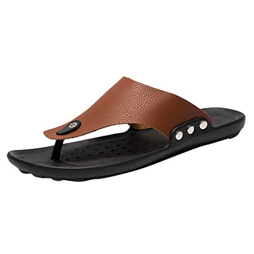 Price comparison product image Corriee Deals Flip Flops for Men Leather Thong Sandals Mens Summer Slippers Flats Brown
