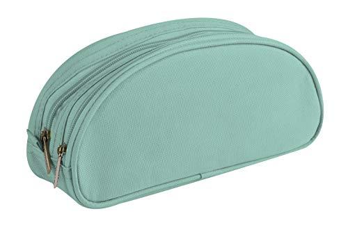 Clairefontaine 8346C - Grande Trousse Scolaire Ovale 2 compartiments 22x8x10 cm, Turquoise
