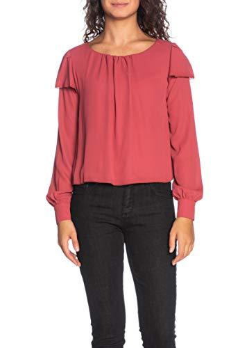 Please Damen Bluse Langarm Rubin Rot bordeaux Medium