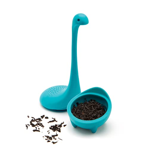 OTOTO Baby Nessie Loose Leaf Tea Infuser (Turquoise) - Dinosaur Tea Infuser Strainer with Steeping Spoon - Long Handle Neck, Cute Ball Body Lake Monster Silicone Tea Infuser for Loose Leaf Herbal Tea