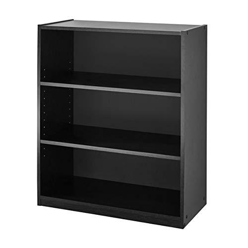 Mainstay. 3-Shelf Bookcase - Wide Bookshelf Storage Wood Furniture, 1 Fixed Shelf 2 Adjustable Shelves Bookcase White (Bundle) (White) (2 Pack (True Black Oak))