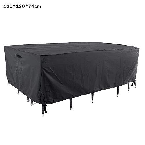 Funda protectora impermeable rectangular para muebles de jardín con protección contra los rayos UV 210D Oxford, con hebillas resistentes al viento para sofá, mesa y silla, a, 120*120*74cm