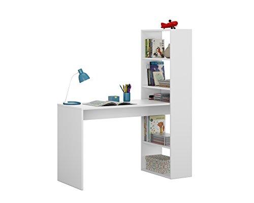 Habitdesign 008314A - Escritorio y estantería reversible, mesa de oficina o escritorio acabada en color Blanco, medidas: 144 x 120 x 53 cm ⭐