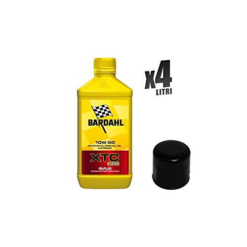 Kit Tagliando moto 4 litri olio Bardahl XTC C60 10W50 + filtro HF553