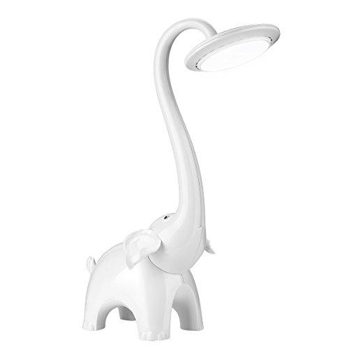 Lighting EVER Lámpara de escritorio Infantil, 3 niveles de luz, Cuidado a la Vista, para niños, Elefante, Blanco