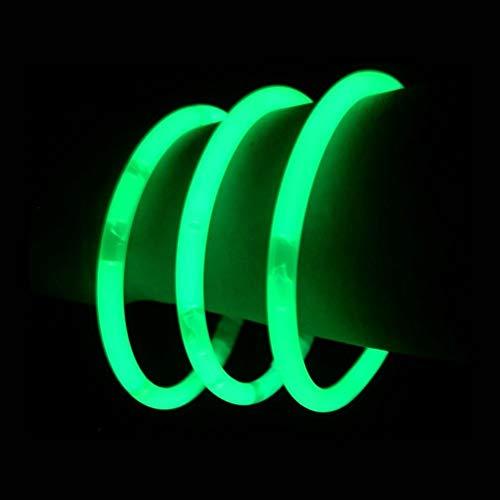 "Glow Sticks Bulk Wholesale Bracelets, 100 8"" Green Glow Stick Glow Bracelets, Bright Color, Glow 8-12 Hrs, 100 Connectors Included, Glow Party Favors Supplies, Sturdy Packaging, GlowWithUs Brand…"