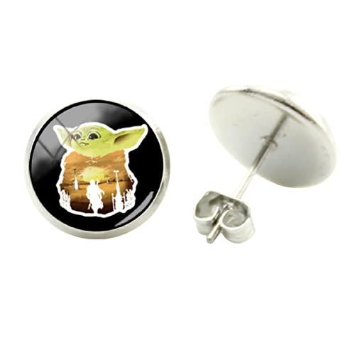Pendientes de estilo sencillo de Star Wars para bebé, Yoda, arte de imágenes, cabujón, cristal, joyas para mujer