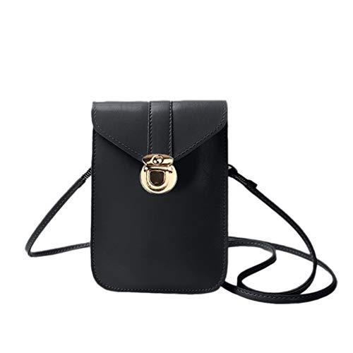 Mini-Handytasche, mit rückseitiger klarer Touchscreen PU Ledertasche, Berührbare transparente Handytasche, Frauen Brieftasche Cross Body Tasche Leder Geldbörse Handy Mini-Tasche (Schwarz)