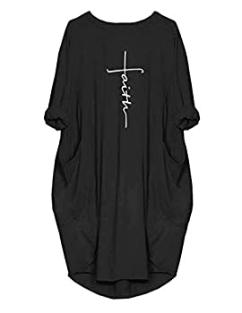 Rfecccy Women s Faith Oversize Baggy T Shirt Causal Loose Party Short Midi Dresses with Pockets Black