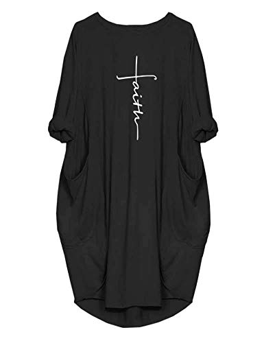 Rfecccy Women's Faith Oversize Baggy T Shirt Causal Loose Party Short Midi Dresses with Pockets Black