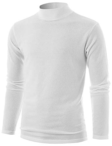 GIVON Mens Slim Fit Long Sleeve Mock Neck Pullover Sweater/DCP324-WHITE-S