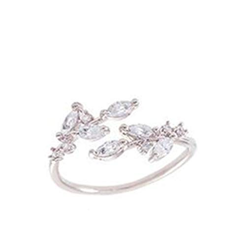 Timesuper Women Open Ring Rhinestone Inlaid Leaves Ring Jewelry Adjustable,Silver