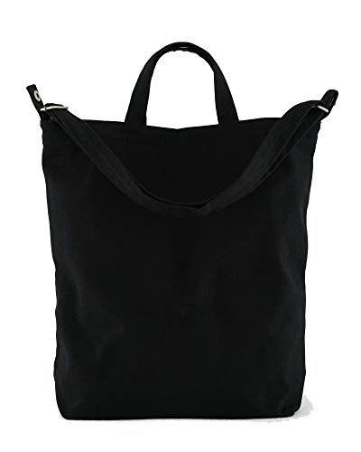 BAGGU Duck Bag Canvas Tote, Essential Tote, Spacious and Roomy, Black
