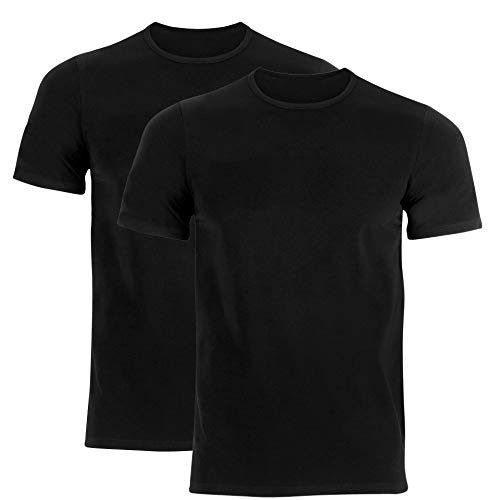 Pack de 2 camisetas lisas con cuello redondo, manga corta. Negro M