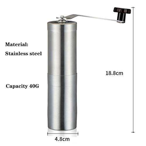 Precision Manual Coffee Bean Grinder, Best Portable, Easily Adjustable, Canister Ceramic Burr, Spice and Herbs, Hand Crank Mill-Made of Stainless Steel-Free Pouch Bag,