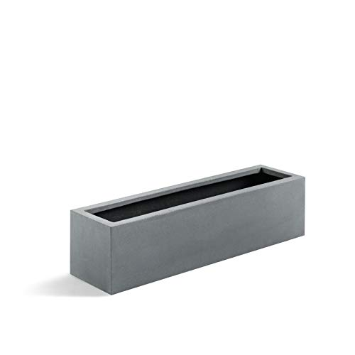 Luca Lifestyle Pflanzkasten Argento Small Box Betongrau Rechteckig Fiberglas *5 Jahre Garantie* - 60x15x15 cm - F1089