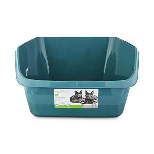 Petco Brand - So Phresh Teal Scatter Shield High-Back Litter Box for Cat, X-Large