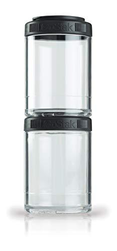 BlenderBottle GoStak Behälter zum Aufbewahren von Protein, Eiweiß, Pulver, Vitaminen und mehr, Schwarz, 2er Pack (2 x 150 ml)
