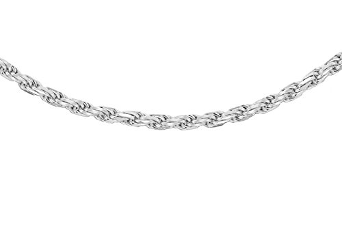 Tuscany Silver Women's Sterling Silver 1.8 mm Diamond Cut Rope Chain Necklace of Length 51 cm/20 Inch