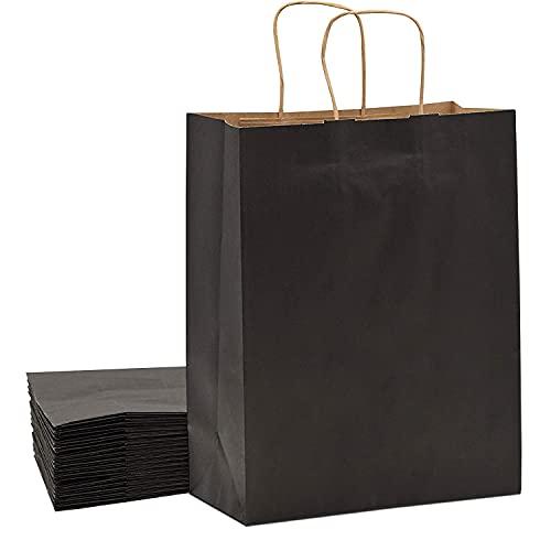 15 piezas Bolsas Papel 21 * 15 * 8CM,Black de Papel Negro,Bolsas de Papel con Asas,Bolsas Papel Kraft,Bolsas Regalo(Espesar 130gsm) (Black)