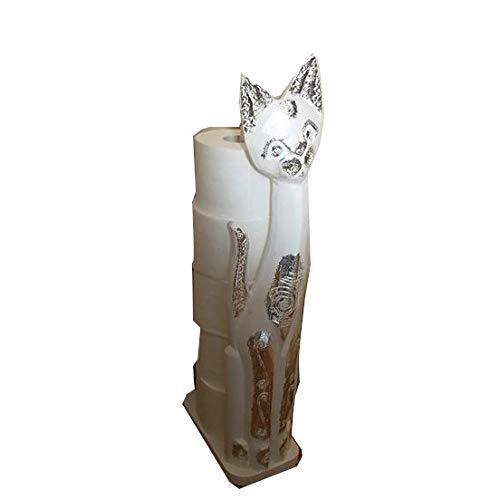 Desconocido Gato y Soporte para Rollos de Papel higiénico Gris Gris