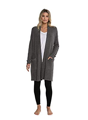 Barefoot Dreams CozyChic Lite Long Weekend Cardi, Ash (Large) by Barefoot Dreams