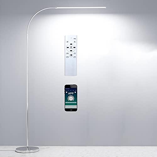 Lámpara de pie LED regulable con mando a distancia App dimmer, lámpara de pie para oficina salón dormitorio, diseño moderno, cuello de cisne flexible, 12 vatios, plata