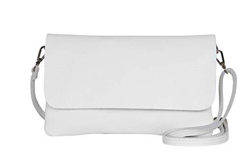 AmbraModa GLX11 – Bolso bandolera Carteras de mano clutch para mujer, de piel auténtica (Blanco)